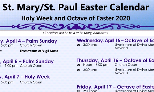 Holy Week 2020 Schedule (UPDATED)
